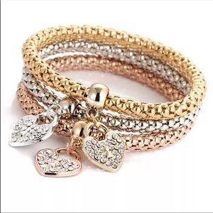 3PC Charm Bracelets Set Hearts